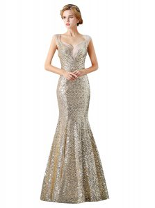 Eye-catching Mermaid Sleeveless Sequined Floor Length Zipper Pageant Dress in Champagne with Sequins