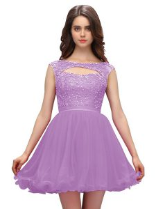 Fantastic Lavender Bateau Zipper Beading Pageant Dress Toddler Sleeveless