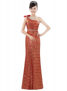 One Shoulder Sequined Sleeveless Floor Length Evening Gowns and Beading and Sequins