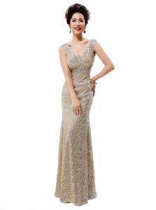 Luxury Champagne Sequined Zipper V-neck Sleeveless Floor Length Pageant Dress for Womens Sequins