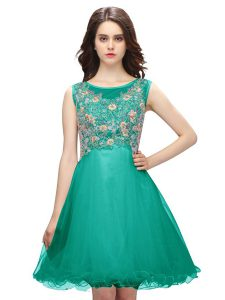 Customized Scoop Turquoise Sleeveless Mini Length Embroidery Zipper Evening Gowns