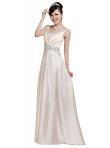 White Sleeveless Elastic Woven Satin Zipper Custom Made Pageant Dress for Prom and Party
