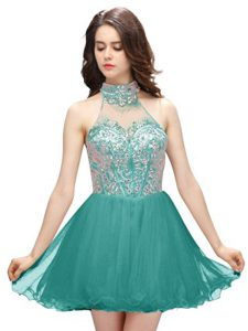 Decent Teal High-neck Zipper Beading Custom Made Pageant Dress Sleeveless