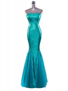 Mermaid Sequined Sleeveless Floor Length Winning Pageant Gowns and Sequins