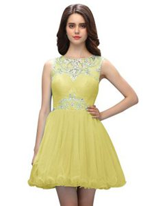 Elegant Light Yellow Scoop Neckline Beading Pageant Gowns Sleeveless Zipper