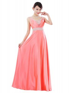 Charming Floor Length Empire Sleeveless Watermelon Red Pageant Dress Wholesale Zipper