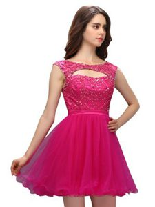 Excellent Fuchsia A-line Beading and Appliques Glitz Pageant Dress Zipper Organza Sleeveless Mini Length