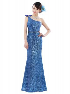 One Shoulder Floor Length Blue Pageant Dress Toddler Sequined Sleeveless Sequins