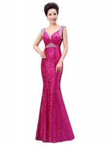 Customized Sequined V-neck Sleeveless Zipper Sequins Pageant Dress for Girls in Fuchsia