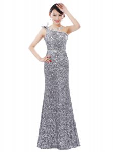 Attractive Silver Sequined Zipper One Shoulder Sleeveless Floor Length Pageant Dress for Girls Sequins