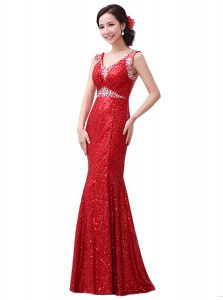 Red V-neck Neckline Sequins Pageant Dress Sleeveless Zipper