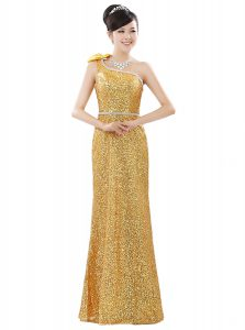 One Shoulder Sleeveless Floor Length Beading and Sequins Zipper Pageant Dress for Girls with Gold