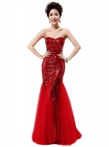 Elegant Mermaid Strapless Sleeveless Pageant Dress for Teens Sequins Wine Red Sequined