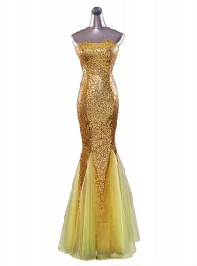 Fashion Sequins Mermaid Pageant Dresses Gold Strapless Sequined Sleeveless Floor Length Zipper