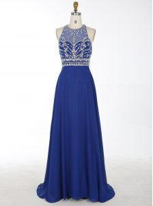 Lovely Scoop Royal Blue Chiffon Criss Cross Pageant Dress for Womens Sleeveless With Brush Train Beading