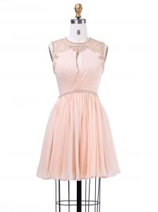 Scoop Beading and Pleated High School Pageant Dress Peach Zipper Sleeveless Mini Length