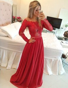 Nice Floor Length Red High School Pageant Dress Off The Shoulder Long Sleeves Zipper