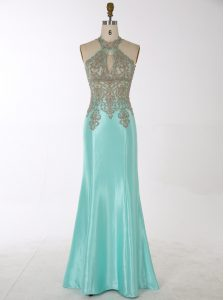 Mermaid Aqua Blue Zipper Pageant Dresses Beading Sleeveless Floor Length