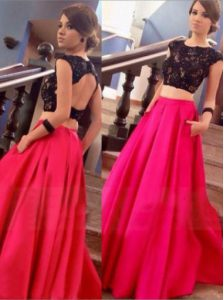 Scoop Backless Satin Cap Sleeves Floor Length Pageant Dress for Womens and Lace