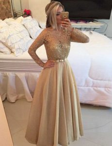 Exceptional Floor Length Champagne Pageant Dress for Girls Bateau Long Sleeves Zipper