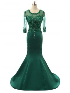 Comfortable Mermaid Green Scoop Neckline Beading Pageant Dress Wholesale 3 4 Length Sleeve Zipper