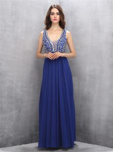 Royal Blue Sleeveless Beading Floor Length Pageant Dress Womens