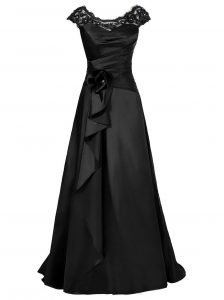 Deluxe Chiffon Scoop Cap Sleeves Zipper Beading and Appliques Glitz Pageant Dress in Black
