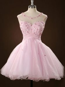 High Class Scoop Sleeveless Evening Gowns Mini Length Beading and Appliques Pink Tulle