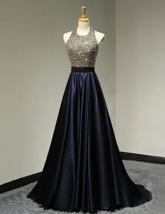 Wonderful Scoop Black Sleeveless Satin Brush Train Backless Winning Pageant Gowns for Prom