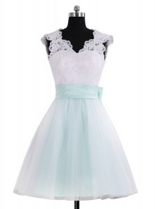 Fabulous Blue And White A-line Tulle V-neck Sleeveless Lace and Sashes ribbons Mini Length Zipper Pageant Dress Wholesale