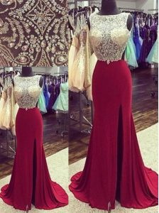 Mermaid Backless Burgundy Sleeveless Brush Train Beading Evening Gowns