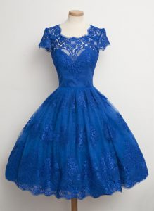 Dynamic Royal Blue A-line Square Cap Sleeves Lace Knee Length Zipper Lace Pageant Dresses