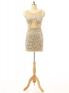 Beauteous Scoop Champagne Backless Pageant Dress Wholesale Beading Sleeveless Mini Length