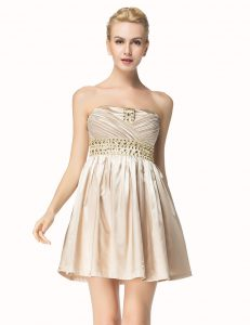 Top Selling Champagne Strapless Side Zipper Beading and Pleated Pageant Dress for Womens Sleeveless