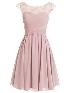 Scoop Cap Sleeves Knee Length Zipper Pageant Dress Wholesale Pink for Prom and Party with Beading