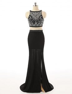 Cheap Black Sleeveless Sweep Train Beading With Train Pageant Dress for Womens