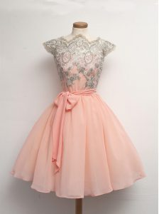 Custom Design Scalloped Cap Sleeves Chiffon Knee Length Zipper Pageant Dress for Teens in Peach with Appliques