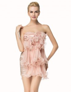 Pleated Mini Length Pink Pageant Dress Scoop Sleeveless Side Zipper