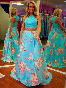 Sophisticated Blue Zipper Halter Top Beading and Appliques and Pattern Pageant Dress for Teens Satin Sleeveless