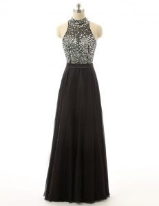 Exceptional Sleeveless Floor Length Beading Backless Pageant Dress for Girls with Black