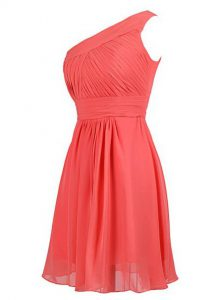 One Shoulder Knee Length Watermelon Red Pageant Dress for Womens Chiffon Sleeveless Ruffles