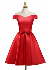 Glamorous Off the Shoulder Knee Length Lace Up Pageant Dress Womens Red and In with Bowknot