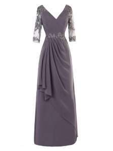 Fashionable Grey A-line Chiffon V-neck Long Sleeves Beading and Appliques and Ruching Floor Length Zipper Pageant Dress for Girls