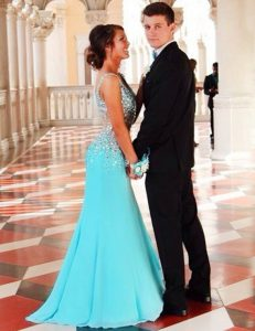 Mermaid Blue Glitz Pageant Dress Prom and Party with Beading V-neck Sleeveless Court Train Zipper