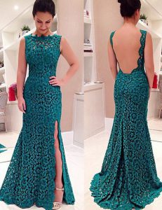 Fantastic Mermaid Scalloped Teal Sleeveless Floor Length Lace Backless Pageant Gowns