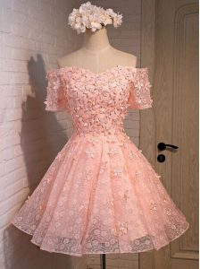 Off the Shoulder Peach Sleeveless Mini Length Appliques Lace Up Pageant Dresses