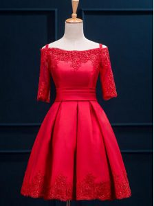 Captivating Red Satin Lace Up Off The Shoulder Half Sleeves Mini Length Pageant Dress for Teens Appliques and Pleated