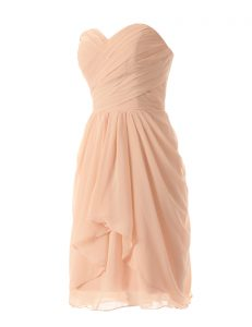 High Quality Peach A-line Chiffon Sweetheart Sleeveless Ruffles Knee Length Zipper Custom Made Pageant Dress