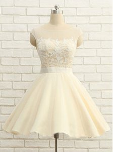 Knee Length Champagne High School Pageant Dress Scoop Cap Sleeves Zipper