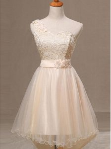 Super Champagne Organza Lace Up One Shoulder Sleeveless Knee Length Pageant Dress Lace and Pleated and Hand Made Flower